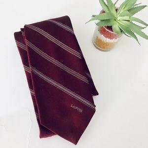 LANVIN MAROON BURGUNDY Neck Tie